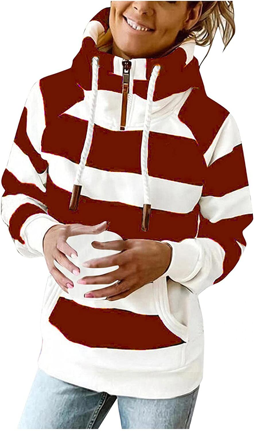 UOCUFY Hoodies for Women Zip Up,Womens Loose Drawstring Sweatshirts Striped Printed Casual Long Sleeve Pullover Tops