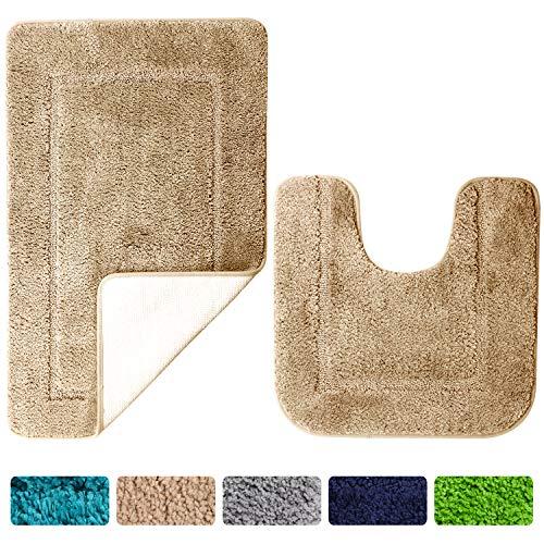 SOANNY Badematte 2er Set, weiche rutschfeste Mikrofaser mit hoher Dichte wasserabsorbierend Badezimmermatte, 53x86 cm Badezimmer Teppich & 50x50 cm Toilettenmatte, Duschvorleger Kamel
