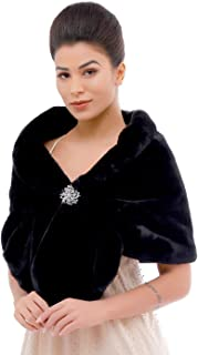 Sleeveless Faux Fur Shawl Wedding Fur Wraps and Shawls Bridal Fur Stole for Brides and Bridesmaids