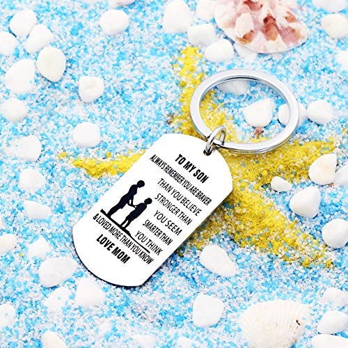 lauhonmin Mother Son Key Chain Ring To My Son - You are Braver Stronger Smarter than you think - Love Mom Photo #7