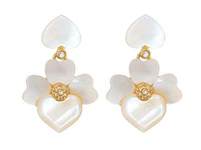 Kate Spade New York Precious Pansy Drop Earrings (Cream Multi/Gold) Earring
