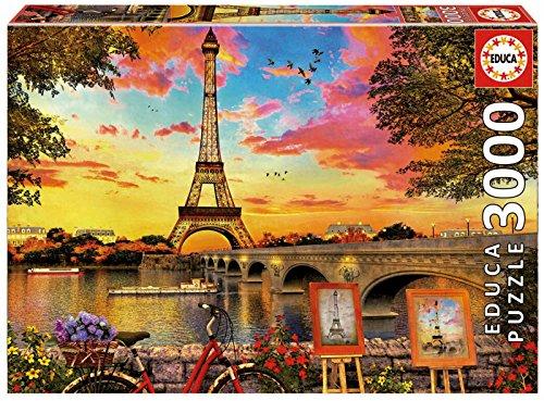 Educa Borras - Genuine Puzzles, Puzzle 3.000 piezas, Puesta de sol en París (17675)