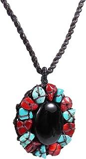 AeraVida Sweet Midnight Mosaic Oval Simulated Black Onyx Pendant Necklace