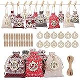 Fostoy Christmas Advent Calendar Bags, 24 Days Xmas Countdown Calendar Burlap Bags for Adults and...