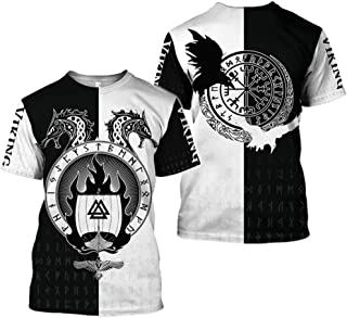 Viking T-shirt for Mens Summer Short Sleeved 3D Printed Nordic Myth Women Tattoo Cosplay Shirt(9 Graphic and 11 USA Size)