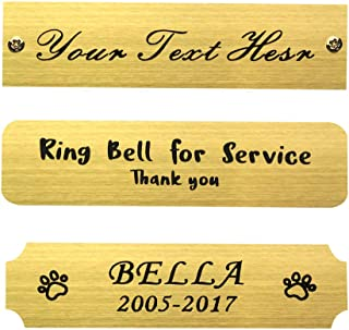"""Size: 3"""" W x 3/4"""" H, Personalized, Custom Engraved, Brushed Gold Solid Brass Plate Picture Frame Name Label Art Tag for Frames, with Adhesive Backing or Screws - Indoor use only"""