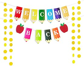Welcome Back to School Sign Teacher Banner Colorful Pencil Letters with 50pcs Circle Dots Garland for New Grade of Class Pennant Classroom Decorations Party Supplies First Day of School Deco