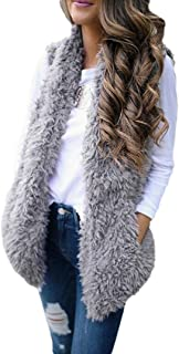 Women's Winter Solid Sleeveless Soft Fluffy Faux Fur Warm Vest Gilet Waistcoat