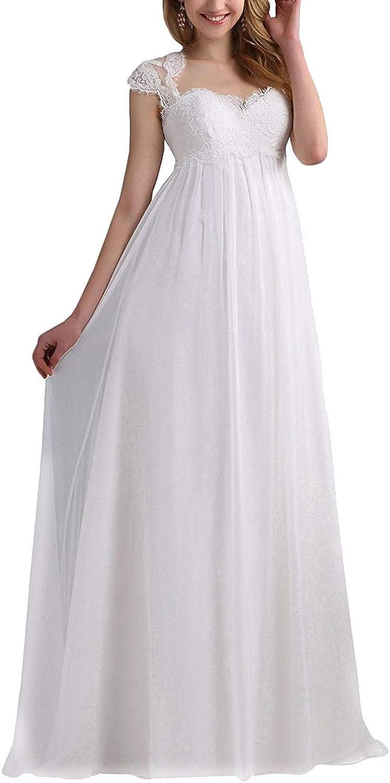 H.S.D Wedding Dress Empire Bridal Dress Cap Sleeves Wedding Bridal Gowns Lace Long