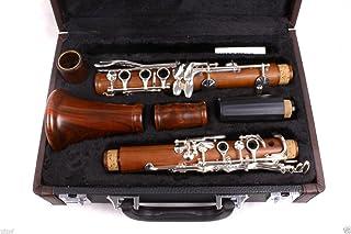 Yinfente Intermediate B-Flat Clarinet Rosewood wood Body Silver Plate Bb Key 17 key Case + Reeds + Pads