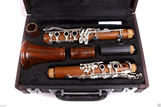 Yinfente Intermediate B-Flat Clarinet Rosewood wood Body Silver Plate Bb Key 17 key Case + Reeds + Pads