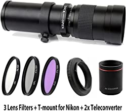 Lightdow 420-1600mm F/8.3-16 Super Telephoto Manual Zoom Lens + 67mm UV/CPL/FLD Filter Kit for Nikon D850, D810, D800, D750, D700, D610, D3100, D3200, D3300, D3400, D5100, D5200, D5300, D5500, D5600