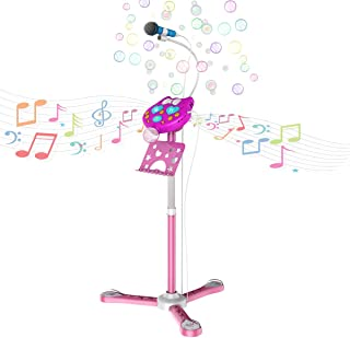 $49 » Kids Stand Microphone Bubble Speaker, Children Singing Machine, Ideal Christmas Birthday Gift for Girls Kids, Most Wished Toys for 5 6 7 8 9 Year Old Girls (Karaoke Bubble Machine)