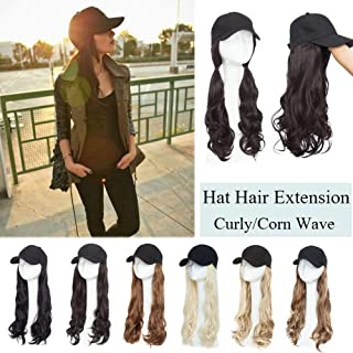 Synthetic Long Hat Hair Extensions Curly Wavy Corn Wave Hairpiece Baseball Cap With Hair Attached Adjustable Cap Black Hat Wigs Yaki Hair Extensions For Girls Lady Women(16''-Curly,Dark Brown)