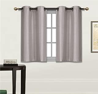 Elegant Home 2 Panels Tiers Grommets Small Window Treatment Curtain Faux Silk Semi Sheer Drape Short Panel 30