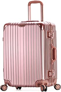 """Stylish and durable Wheels Travel Rolling Boarding,20"""" 24""""Inch 100% Aluminium Spinner Aluminium Convenient Trolley Case,Super Storage Luggage Bag, high quality (Color : Rose gold, Size : 20inch)"""