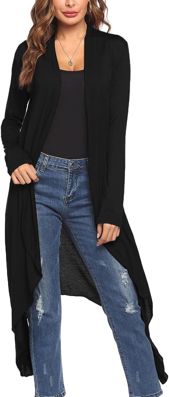 Meaneor Women's Duster Long Sleeve Cardigan Asymmetric Hem Lightweight Long Open Front Drape Cardigans S-XXL