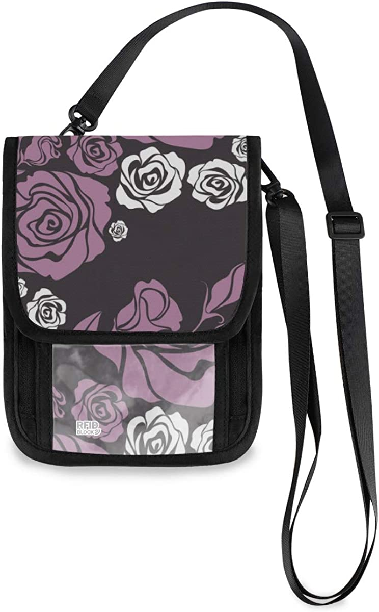 VIKKO Vintage Flower Purple Rose Travel Popular popular Neck B Oakland Mall RFID Wallet With