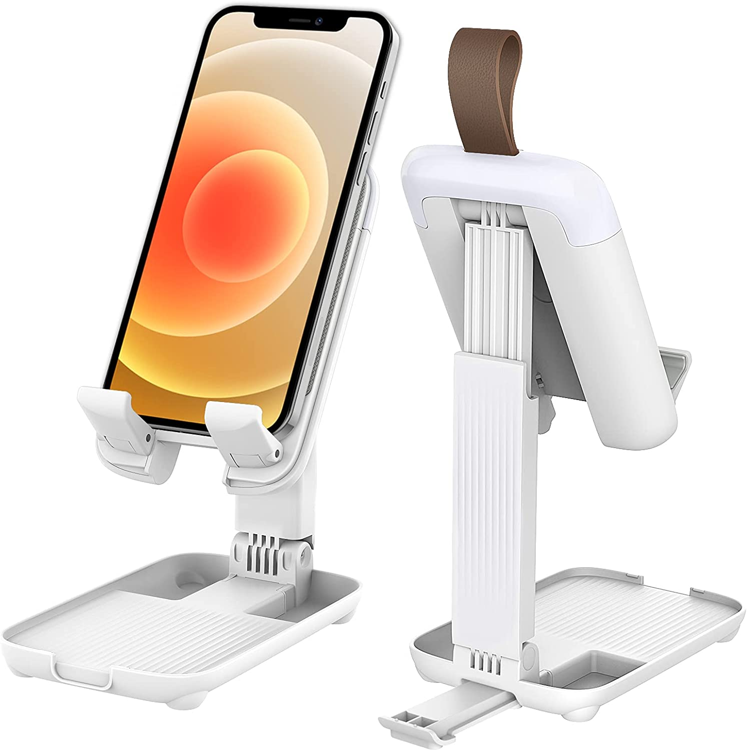 MoKo Adjustable Cell Phone Stand, Desk Phone Holder Dock Stand with Angle Height Adjustment, Compatible with iPhone 12/11 Pro Max SE, iPad Mini 5,Air 3 Galaxy S20,All Smartphone Tablet(4