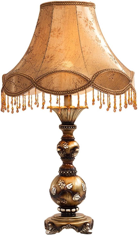 MMM- Europische Tischlampe Schlafzimmer Nachttischlampe Retro Study Zimmer Wohnzimmer Stoff