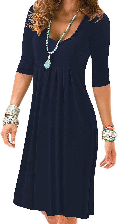 LEIYEE Womens Casual Half Sleeve Empire Waist Pleated Swing Modest Work Tunic Dresses