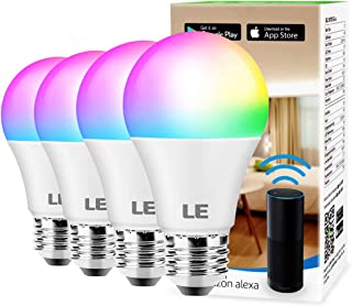 LE WiFi Smart LED Light Bulbs, Color Changing Lights, RGBW 2700K-6500K, Works with Alexa & Google Home, Dimmable with App, No Hub Required, 60 Watt Equivalent, A19 E26 (4 Pack)