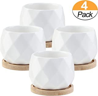 3.5 Inch White Ceramic Succulent Plant Pots with Bamboo Tray Small Cactus Planter Simple Flower Pots with Drainage Holes, Set of 4