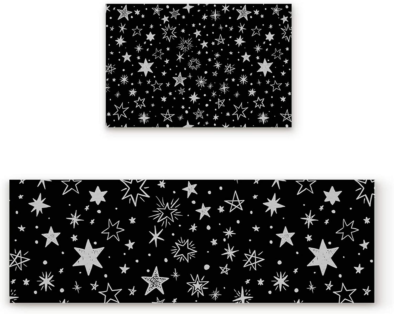 Libaoge Non-Skid Slip Rubber Backing Kitchen Mat Runner Area Rug Doormat Set, Dark Night Galaxy with Brightness Stars Carpet Indoor Floor Mats Door 2 Packs, 19.7 x31.5 +19.7 x63
