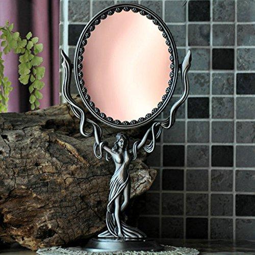 Toim gótico retro metal europea Estilo Retro Vintage Portátil Espejo de tocador espejo de vanidad giratorio, doble cara–Espejo para tocador (caja de regalo embalaje)