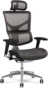 X-Chair X2 Management Task Chair, Grey K-Sport Mesh with Headrest