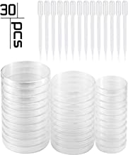 Eowpower 20 Pack Sterile Plastic Petri Dish Tissue Culture Plate 90x15mm with 20Pcs 2ml 3ml Plastic Transfer Pipettes Each of 10Pcs