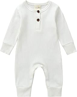 Unisex Newborn Baby Autumn Romper Long Sleeve One Piece Solid Color Knitted Cotton Playsuit Jumpsuit