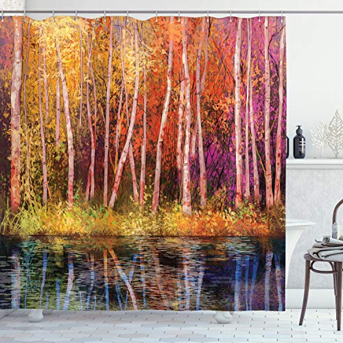 """Ambesonne Flower Shower Curtain, Fall Trees Along with Lake Fall in Jungle Natural Paradise Best Places in Earth, Cloth Fabric Bathroom Decor Set with Hooks, 70"""" Long, Grink Purple"""