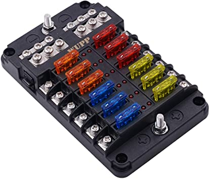 amazon.com: wupp boat fuse block, waterproof fuse panel with led warning  indicator damp-proof cover - 12 circuits with negative bus fuse box holder  for car marine rv truck dc 12-24v, fuses included :  amazon.com