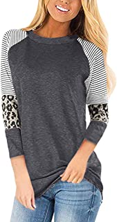 LATINDAY Women's Leopard Print Color Block Tunic Round Neck Half Sleeve Shirts Striped Causal Blouses Tops