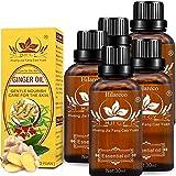 5 PCS Drenaje linfático Aceite de jengibre para la aromaterapia y como aceite base para masajes [100% natural puro] Por Hilareco,30 ml