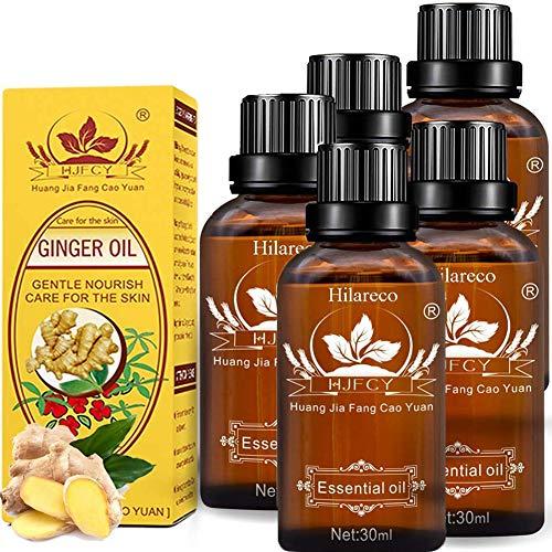 5 PCS Huile de gingembre, Huile essentielle de gingembre, Huiles de massage pour spa, Huile essentielle de plante, Huile essentielle de gingembre lymphatique Magic New, 100% PURE Naturall