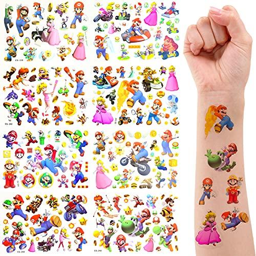 Yisscen Tatuajes Temporales Niños,8 Hojas Super Mario pegatinas tatuajes temporales Impermeables Tatuajes Falsos,Tatuajes Adhesivos para Niños Niñas Decoración Cumpleaños Suministros Fiestas