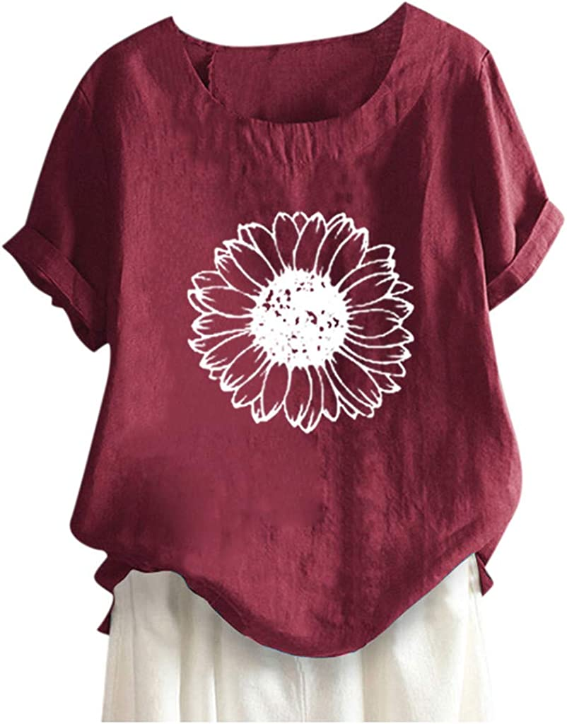 ZSBAYU Plus Size Women Short Sleeve Cotton Linen O-Neck Floral Print Blouse Top T-Shirt Loose Casual Tunic Pullover