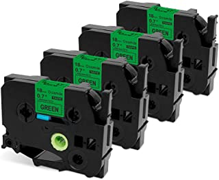 Oozmas Compatible Label Tape Replacement for Brother TZe-741 TZe Green Tape, 18mm 0.7 Inch Tze Laminated Label Tape,Black on Green,Compatible with P-Touch Labeler PT-D600VP, PT-D400, PT-D400AD, 4 Pack
