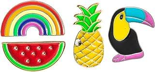 KESYOO 4pcs Enamel Brooch Pin Set Rainbow Pineapple Watermelon Toucan Animal Cartoon Brooches Lapel Pins Badge Hawaiian Cl...