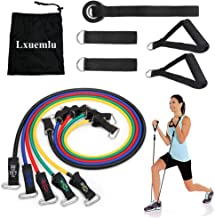 【2019 Upgraded】 Resistance Bands Set with Handles, Door Anchor, Ankle Straps and Workout Guide - Lxuemlu Exercise Bands for Men Women Resistance Training, Home Workouts