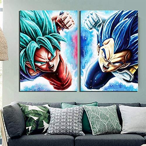Leinwand, Art Kunst, Bilder, Ölgemälde, 2 Stück, Vegeta Goku Anime Dragon Ball Super Zeichentricke, modulare Plakate, modern, HD, bedruckt, Heim-Deko, Leinwand (Farbe: 60 x 90 cm x 2 Stück)