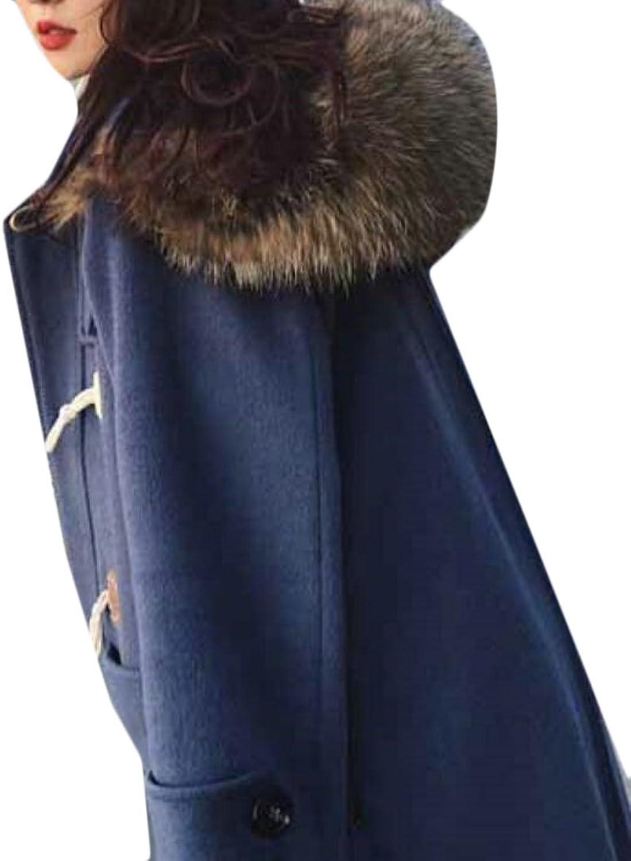 GAGA Women's New Thicken Warm Hooded Woolen Pea Trench Coat