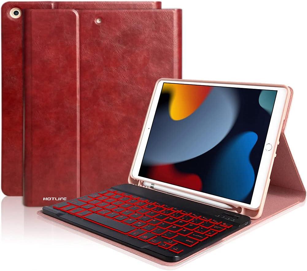 iPad 9th Generation Case with Keyboard, iPad Keyboard Case 10.2 for New iPad 9th 2021/ iPad 8th Gen 2020/iPad 7th Gen 2019, Backlit Wireless BT Keyboard - Built-in Pencil Holder for Apple iPad 10.2