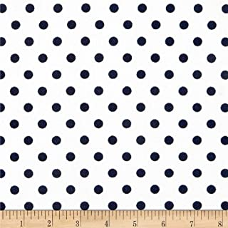 Fabric Liverpool Double Knit Polka Dot Navy on Off White Fabric by the Yard