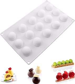 Silicone Mousse Cake Molds 3D Mini Ball Shape for Christmas Dessert Chocolate Truffle Pudding Baking Molds, Non Stick Easy Release,BPA Free,15-Cavity, Set of 1