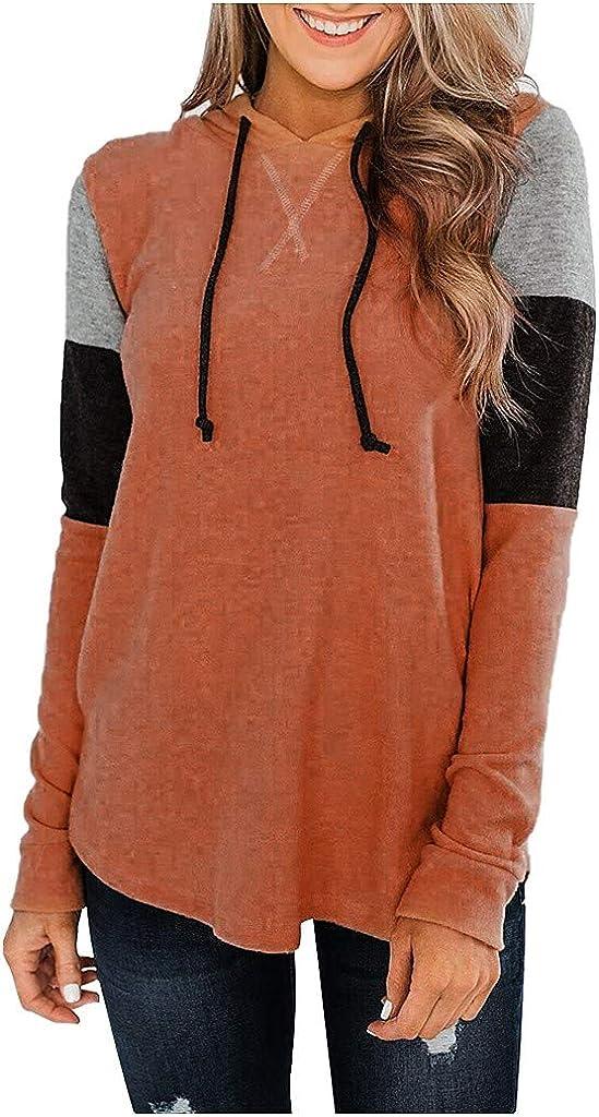WUAI-Women Color Block Hoodie Excellent Sweatshirts Lightweight Loose Thin Mesa Mall