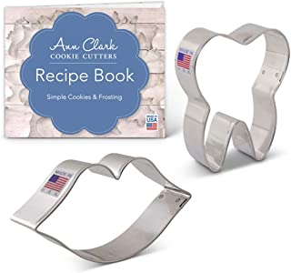Ann Clark Cookie Cutters 2-Piece Sweet Smile/Dentist Cookie Cutter Set with Recipe Booklet, Mouth and Tooth