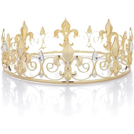 SWEETV Reale Corona da Re per Adulto Cristallo Principe Diadema Tiara Capelli Accessori Gioielli da Uomo, Oro